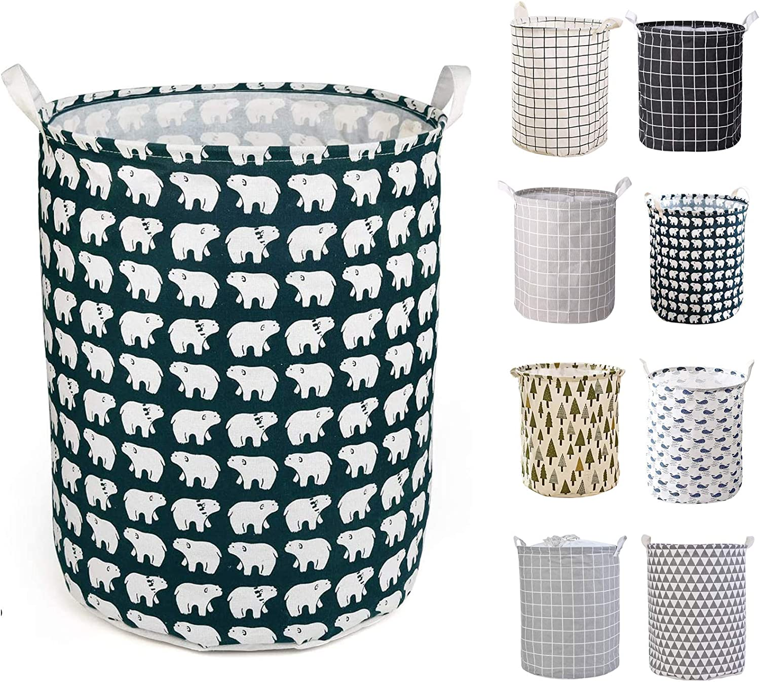 Storage for Bedroom Fyore Laundry Hampers Waterproof Round Cotton Linen Collapsible Laundry Basket Toys Bathrooms Bear Pattern
