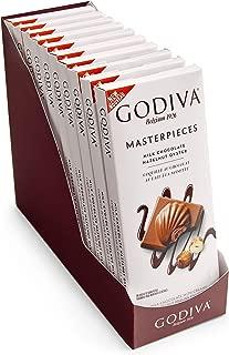 Godiva Chocolatier Masterpiece Milk Chocolate Hazelnut Praline Oysters Bar, 2.20 Pound, Candy Bars, 10 Pack