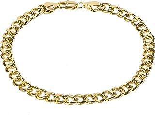 دستبند زنانه kelistom Gold Cuban Link Anklet for Men، 7mm Wide 14K Gold / 18K Gold / Gold Gold plated Diamond cut Curb Chab Curb Chabb bracelets for men 9 10 11 اینچ