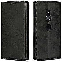 HanaRo スマホケース Xperia xz2 ケース 手帳型 薄型 ベルトなし カバー マグネット ケース 高級 PU レザー 財布型 Xperia Xperiaxz2 ブラック