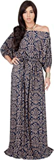 Womens Long Sexy One Shoulder Flowy Print Casual Short Sleeve Maxi Dress