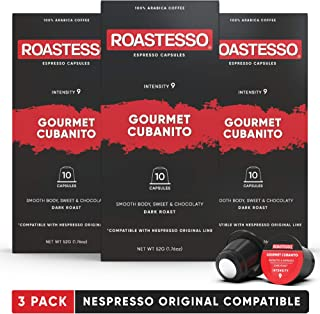 Roastesso Coffee Capsules, Compatible With Nespresso OriginalLine Machines (30 Count) Gourmet Cubanito Espresso Pods, Cafecito De Cuba Original Flavor Cafe Milk Frother Ristretto Lungo Single Cups