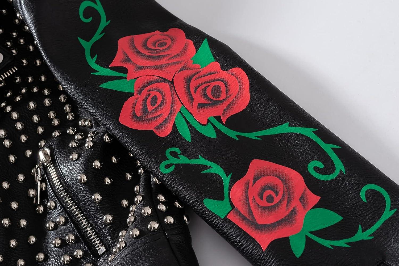 Slim-Fit Rivet Motorcycle Leather Jacket Punk Style PU Leather Jacket Rose Pattern Coat