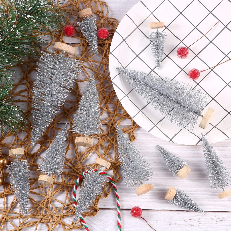 60 Piezas de Mini Árbol de Navidad Artificial Sisal Árboles de ...