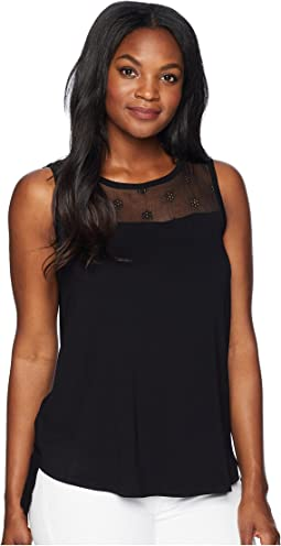 Sleeveless Embroidered Eyelet Mix Media Top