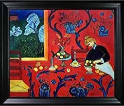 La Pastiche overstockArt Armonia Rojo Framed Oil Reproduction of an Original Painting by Henri Matisse, Black Satin Frame,...