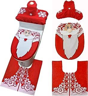 Christmas Snowman Santa Deer Toilet Seat Cover and Rug Set Red Christmas Decorations Bathroom 3PCS Set (Santa)