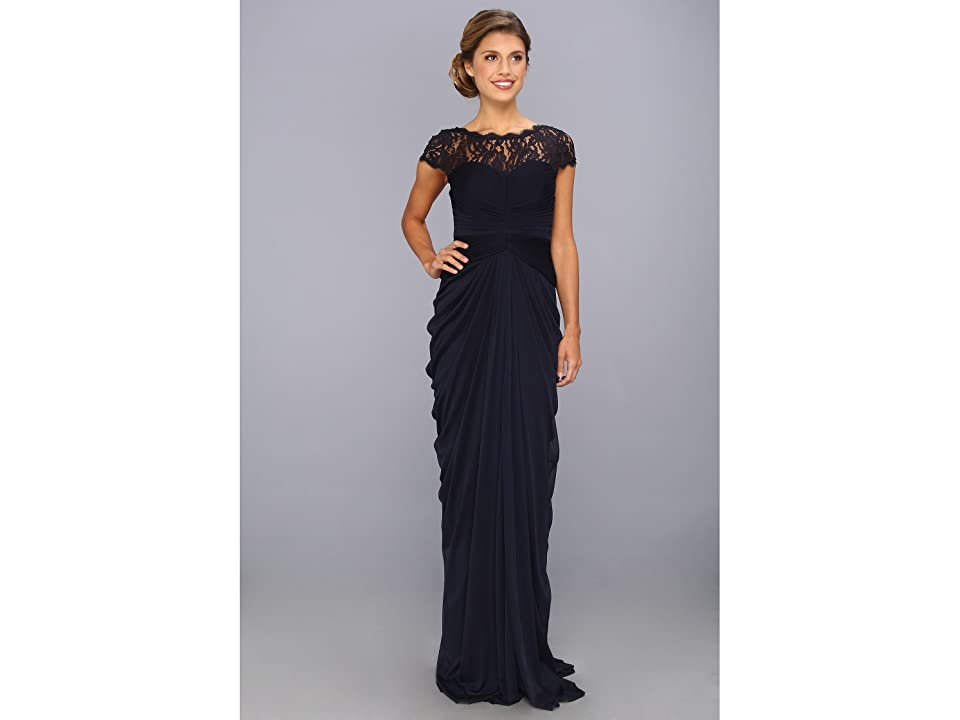 Adrianna Papell Lace Bodice On Draped Skirt (Ink) Women