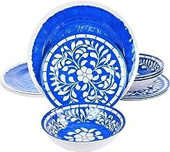 Elama ELM N Elly Collection Melamine Dinnerware Set, 12 Piece, Blue