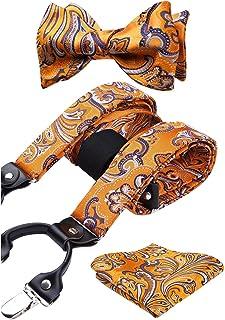 HISDERN Bretelle solide e set di cravatte da uomo Bretelle elastiche da smoking per pantaloni con bretelle X-Back con clip...