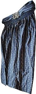 JOBLINE Trachtenschürze Farbe: Dunkelblau mit weissen Blumen Schürze ist ca. 65cm lang. Dirndlschürze Gr. 38 Bund: ca. 35cm Material: 100% Baumwolle mit Metallschliesse. Trachtenschürze