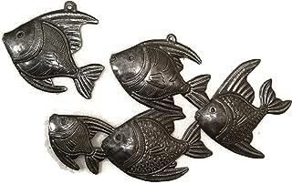 Handmade Haitian Metal Art Fish Under Water Wall Decor 14 x 8 and 5 x 5 Inches