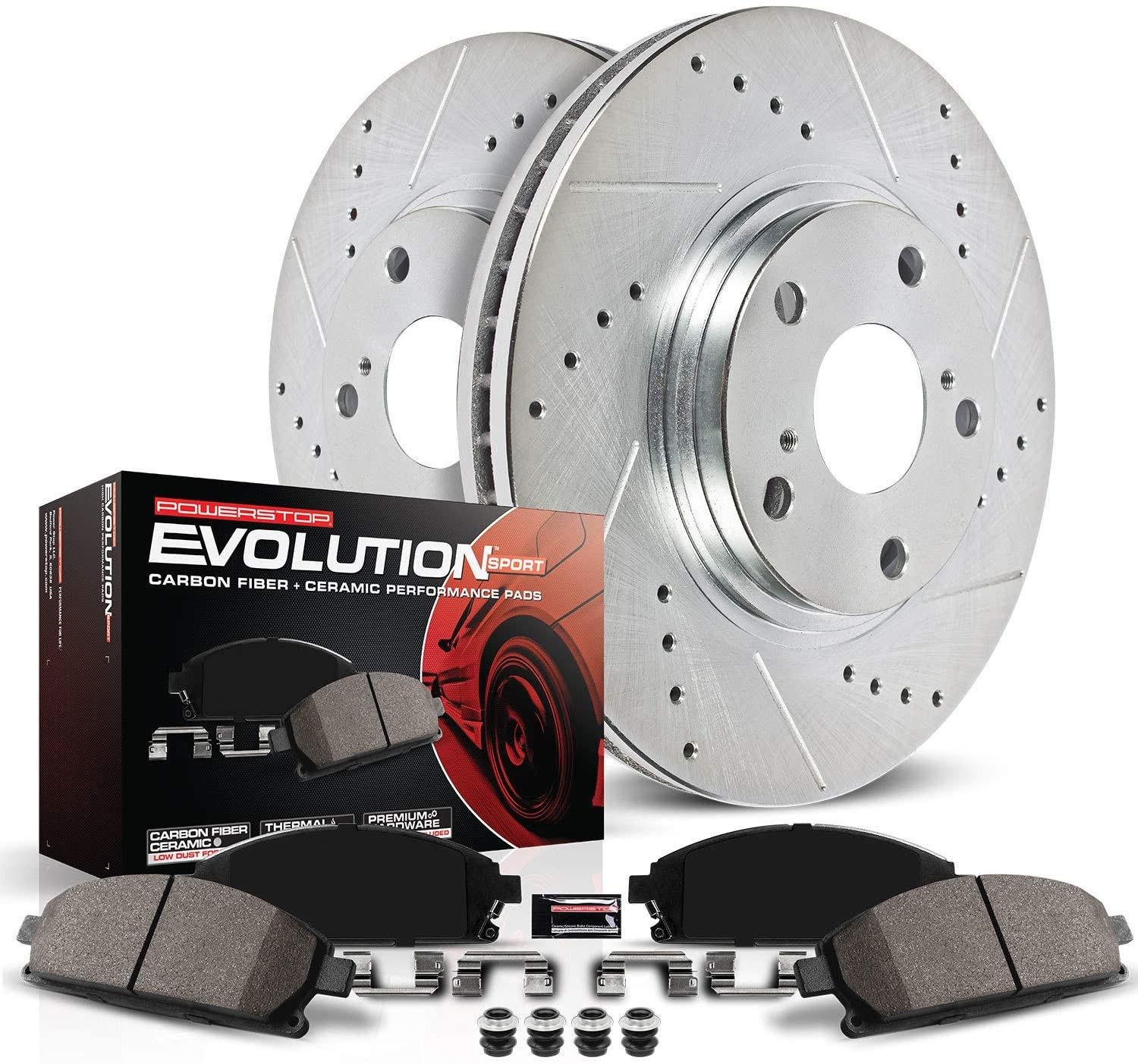 Power Stop K5864 Rear Z23 Carbon Fiber Brake Pads with Drilled & Slotted Brake Rotors Kit