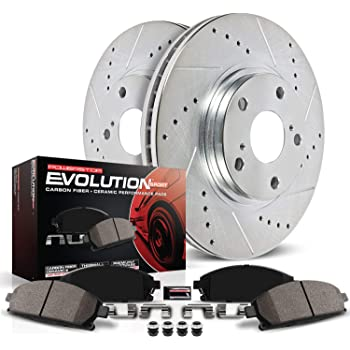 Power Stop K2560 Front Brake Kit with Drilled/Slotted Brake Rotors and Z23 Evolution Ceramic Brake Pads,Silver Zinc Plated
