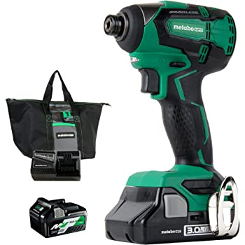 Metabo HPT 18V Cordless Impact Driver | Includes 2 Batteries (1) 36V/18V Multivolt 5.0Ah & (1) 18V Compact 3.0Ah Battery | 1,522 in-lbs of Torque | Up to 3,100 Rpm 3,400 BPM | Brushless (WH18DBFL2T)
