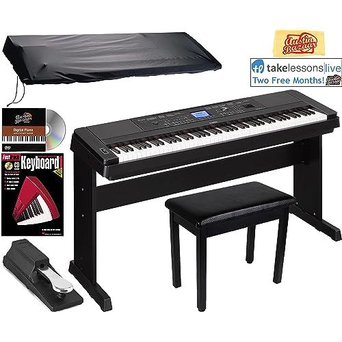 Yamaha DGX-660 Digital Piano - Black Bundle with Furniture Bench, Sustain Pedal,