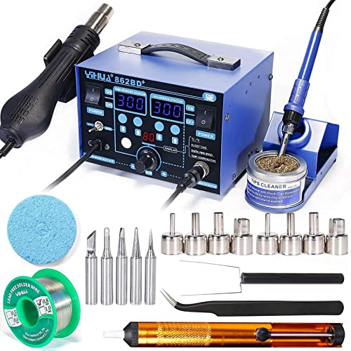 lowest YIHUA outlet online sale 862BD+ Professional Soldering & Rework Station bundle with #2300 Hot Air Nozzles with Iron Holder, Soldering Cleaning Kit, and wholesale Accessories (23 Items) outlet online sale