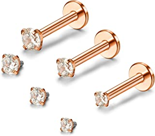 Orazio 2-3Pcs 16G Stainless Steel Nose Studs CZ Labret Studs Lip Rings Ear Piercings Studs Rose Gold-Tone
