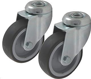 Gereedschapswielen wieltjes 2 stuks 50 mm wiel van rubber grijs, bevestiging achtergat, inbouw als zwenkwiel draaibaar dra...