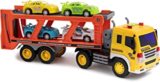 Toy To Enjoy Car Carrier Truck with Light & Sound Effects – Vehicle Transporter Trailer - Friction Powered Wheels & Four Removable Cars - Heavy Duty Plastic Vehicle Toy for Kids & Children