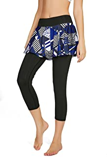 Cityoung Women's Capris Yoga Pants Tights Athletic Skorts Running Skirted Leggings Sun Protection