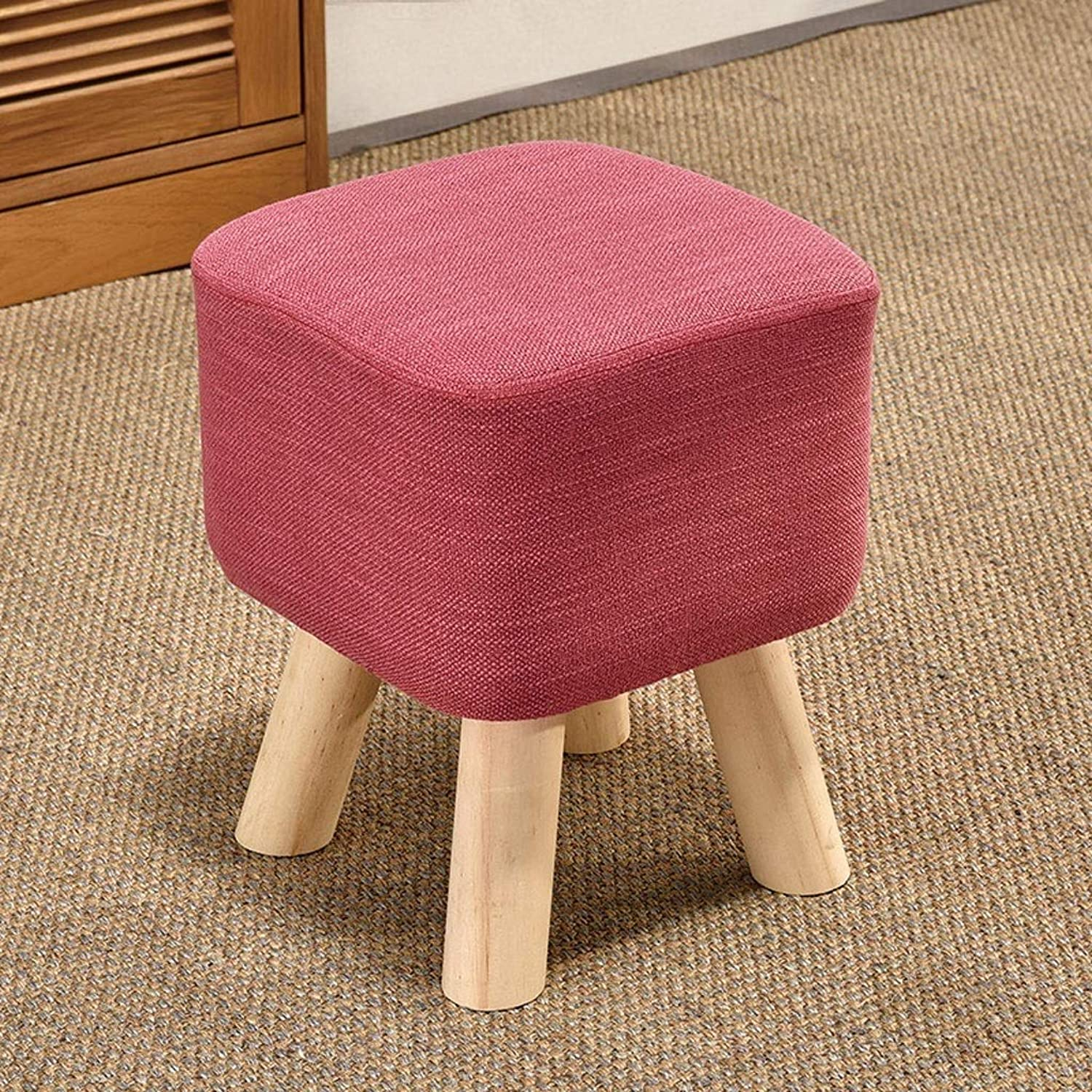 Small Bench Small Stool Change shoes Bench Footstool Low Stool Sofa Stool Cloth Dining Chair Family Haiming (color   Pink)