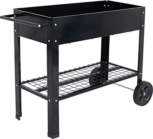 new arrival Sunnydaze Raised Garden Bed with Handlebar and Wheels - Galvanized Steel - Outdoor Mobile Elevated Planter Box Cart discount - 43-Inch - Grow Vegetables and Plants on The Patio, Deck, or Yard online sale - Black outlet online sale