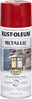 Rust-Oleum 7256830 Stops Rust Metallic Spray Paint, 11 oz, Apple Red