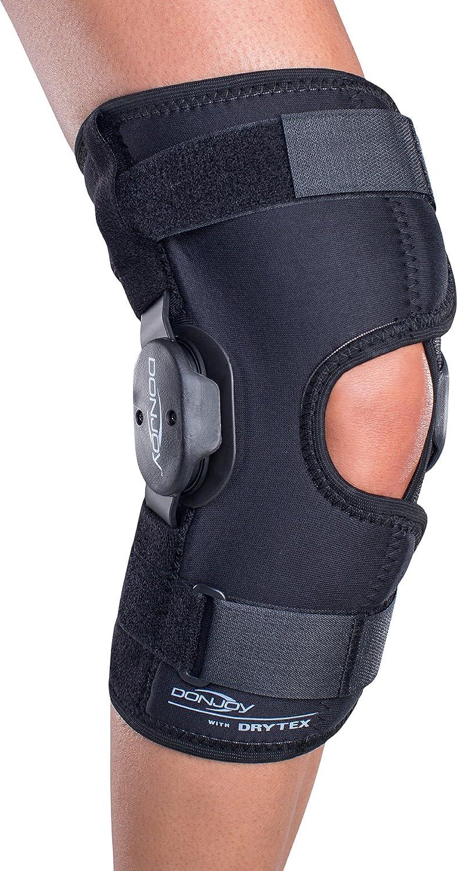 DonJoy Deluxe Hinged Knee Brace, Drytex Wrap Around, Open Popliteal, XSmall