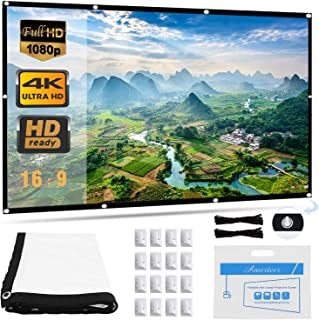 Projector Screen, Upgraded 120 inch 4K 16:9 HD Portable Projector Screen, Premium Indoor Outdoor Movie Screen Anti-Crease ...