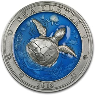 2018 DE Barbados 3 oz Silver Antique Underwater World (Sea Turtle) Silver Brilliant Uncirculated