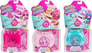 Shopkins Lil' Secrets Secret Lock Mini Playset Princess Hair Salon, Peacock Gala and Bubbling Beauty Day Spa