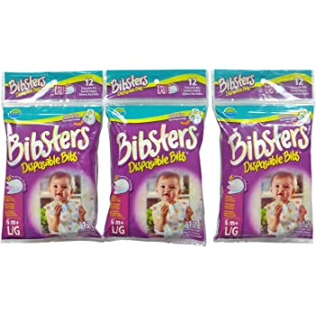 Bibsters by Neat Solutions Large Disposable Bibs with Patented Crumb-Catcher, Leak Proof Liner, and Reusable Fastener, Age 6+ Months, 36 Count