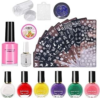Tingbeauty Nail Art Stamping Plates Kit with 10pcs Stamping Plates 6pcs Stamping Polish 1 Stamper 1 Scraper 1 Nail Polish Remover Pads 1 Nail Liquid Tape 1 Nail Polish