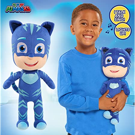 "PJ Masks 14"" Feature Cat Boy Plush Toy with Talk, Sing and Lights Up Feature for Kids, Age 3 Years and Above"