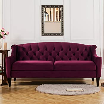Amazon Com Jennifer Taylor Home La Rosa Collection Chesterfield Style Diamond Tufted Upholstered Velvet Sofa With Rolled Back Wooden Legs Burgundy Furniture Decor