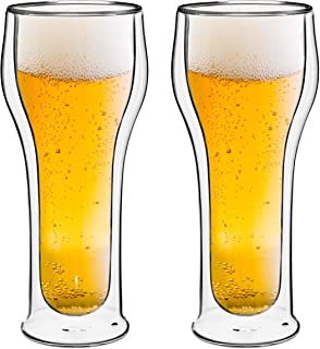 Style Setter Double Wall Beer Glasses – Set of 2 14.2oz Insulated Home Barware Tumblers for Beers, Cocktails, Spirits & Other Hot & Cold Beverages – Unique Gift Idea for Birthday, Holiday & More
