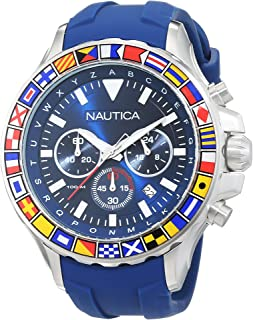 Men's NST 1000 Flags Stainless Steel Quartz Watch with Silicone Strap, Blue, 22 (Model: NAD19562G)