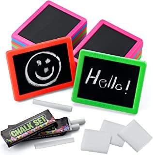 Bedwina Mini Chalkboard Set (Bulk of 24) Neon Chalk Boards, Includes, Board, Chalk, and Eraser, for Kids Prizes, Stocking ...
