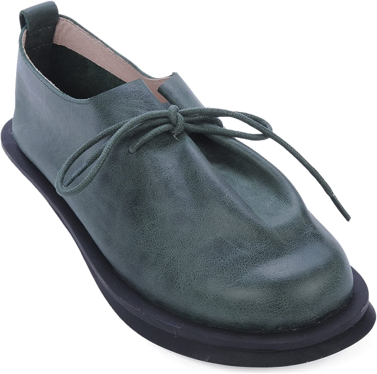 Dwarves Women's Handmade Leather Retro Lace Up Flats Round Toe Green Natural Fold