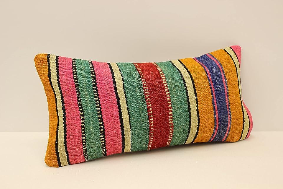 Throw Pillow Cover 10x20 in Black Green White Lumbar Cushion Handmade Kilim Decorative Sofa Pillow Case