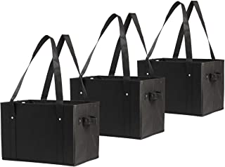 Earthwise Deluxe Collapsible Reusable Shopping Box Grocery Bag Set with Reinforced Bottom Storage Boxes Bins Cubes (Set of...