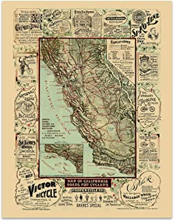 California Vintage Map Cycling Map Circa 1895-11 x 14 Unframed Print - Cyclist Gifts For Men. Great Gift for the Cycling Enthusiast In Your Life. Cycling Themed Office Decor
