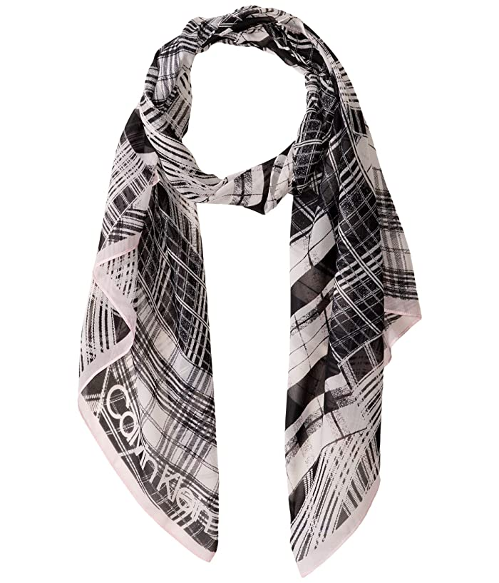 Abstract Plaid Poly Chiffon Scarf (Clear Pink) Scarves