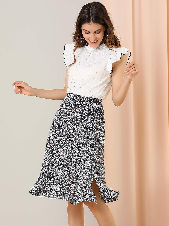 Allegra K Women's Floral Ruffle Hem Elastic Back Button Split Midi Skirt