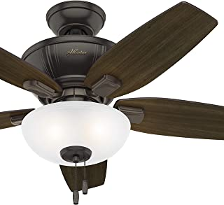 Hunter Fan 42 inch Traditional Noble Bronze Indoor Ceiling Fan with LED Bowl Light Kit (Renewed)