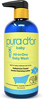 PURA D'OR All-in-One Baby Wash - USDA Biobased, Sulfate-Free, Tear-Less, Hypoallergenic, No Artificial Scent, Gentle, Natural Calming 2-in-1 Baby Bath Wash & Shampoo, 16 Fl Oz (Packaging may vary)