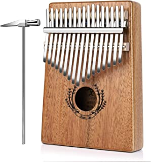 Flexzion Kalimba 17 Keys Thumb Piano, Mbira 17 Tone Finger Piano Portable African Musical Instrument with Musical Scorebook/Learning Booklet, Tune Hammer, Storage Carrying Bag