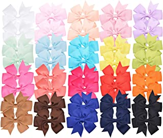 40 Pieces 3 inches Baby Girls Hair Bows Clips Boutique Grosgrain Ribbon Bow Pinwheel Barrettes For Babies Kids Toddlers Te...