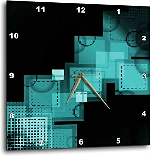 3dRose DPP_111211_3 Turquoise Squares Stitched & Digital Abstract Art Wall Clock, 15 by 15